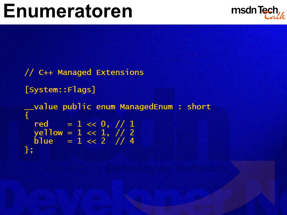 Enumeratoren // C++ Managed Extensions [System::Flags]